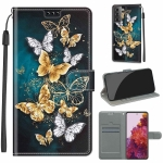For Samsung Galaxy S21 5G Voltage Colored Drawing Magnetic Clasp Horizontal Flip PU Leather Case with Holder & Card Slots(C20 Gold Silver Flying Butterflies)