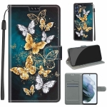 For Samsung Galaxy S21 FE 5G Voltage Colored Drawing Magnetic Clasp Horizontal Flip PU Leather Case with Holder & Card Slots(C20 Gold Silver Flying Butterflies)