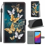 For Huawei Y5 2018 / Honor Play 7 Voltage Colored Drawing Magnetic Clasp Horizontal Flip PU Leather Case with Holder & Card Slots(C20 Gold Silver Flying Butterflies)