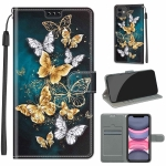 Voltage Colored Drawing Magnetic Clasp Horizontal Flip PU Leather Case with Holder & Card Slots For iPhone 11(C20 Gold Silver Flying Butterflies)
