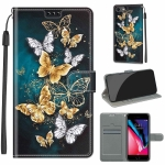 Voltage Colored Drawing Magnetic Clasp Horizontal Flip PU Leather Case with Holder & Card Slots For iPhone SE 2020 / 8 / 7(C20 Gold Silver Flying Butterflies)