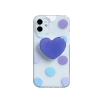 Colorfu Dot Pattern TPU Straight Edge Shockproof Case with Heart Holder For iPhone 11 Pro(Blue)