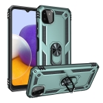 For Samsung Galaxy A22 5G Shockproof TPU + PC Protective Case with 360 Degree Rotating Holder(Dark Green)