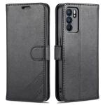 For OPPO Reno6 / Reno6 Pro 5G AZNS Sheepskin Texture Horizontal Flip Leather Case with Holder & Card Slots & Wallet(Black)