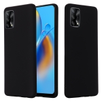 For OPPO A74 4G / F19 Pure Color Liquid Silicone Shockproof Full Coverage Case(Black)