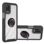 For LG K42 / K52 / Q52 / K62 / Q62 Starry Sky Solid Color Series Shockproof PC + TPU Protective Case with Ring Holder & Magnetic Function(Black)