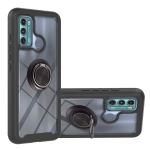 For Motorola Moto G60 Starry Sky Solid Color Series Shockproof PC + TPU Protective Case with Ring Holder & Magnetic Function(Black)