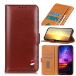 3-Color Pearl Texture Magnetic Buckle Horizontal Flip PU Leather Case with Card Slots & Wallet & Holder For iPhone 13 Pro Max(Brown)