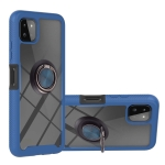For Samsung Galaxy A22 5G Starry Sky Solid Color Series Shockproof PC + TPU Protective Case with Ring Holder & Magnetic Function(Blue)