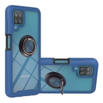 For Samsung Galaxy A12 Starry Sky Solid Color Series Shockproof PC + TPU Protective Case with Ring Holder & Magnetic Function(Blue)