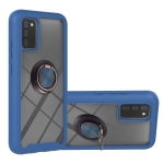 For Samsung Galaxy A02s EU Version Starry Sky Solid Color Series Shockproof PC + TPU Protective Case with Ring Holder & Magnetic Function(Blue)