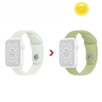 Discoloration in Sun Silicone Replacement Watchband For Apple Watch Series 6 & SE & 5 & 4 40mm / 3 & 2 & 1 38mm(Transparent Change Army Green)