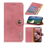 For Samsung Galaxy M32 KHAZNEH Cowhide Texture Horizontal Flip Leather Case with Holder & Card Slots & Wallet(Pink)