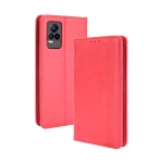For vivo V21e 4G / Y73 2021 Magnetic Buckle Retro Crazy Horse Texture Horizontal Flip Leather Case with Holder & Card Slots & Photo Frame(Red)