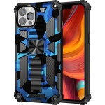 Camouflage Armor Shockproof TPU + PC Magnetic Protective Case with Holder For iPhone 13 Pro Max(Blue)