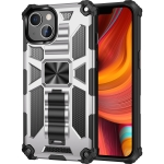 Armor Shockproof TPU + PC Magnetic Protective Case with Holder For iPhone 13(Silver)