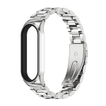 For Xiaomi Mi Band 6 / 5 / 4 / 3 CS Metal Three Bead Stainless Steel Replacement Watchband(Silver)