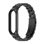 For Xiaomi Mi Band 6 / 5 / 4 / 3 CS Metal Three Bead Stainless Steel Replacement Watchband(Black)
