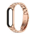 For Xiaomi Mi Band 6 / 5 / 4 / 3 CS Metal Three Bead Stainless Steel Replacement Watchband(Rose Gold)