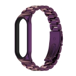 For Xiaomi Mi Band 6 / 5 / 4 / 3 CS Metal Three Bead Stainless Steel Replacement Watchband(Purple)