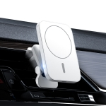 adj-987 15W Magsafe Magnetic Car Air Outlet Wireless Charger for iPhone 12 Series, with LED Indicator(White)