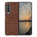 For Samsung Galaxy Z Fold3 5G Ostrich Skin Texture Shockproof Protective Leather Case(Brown)