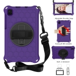 For Samsung Galaxy Tab A7 Lite 8.7 2021 T220 / T225 360 Degree Rotation Honeycomb Shockproof Silicone PC Protective Case with Holder & Shoulder Strap & Hand Strap(Purple Black)