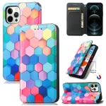 Colored Drawing Magnetic Horizontal Flip PU Leather Case with Holder & Card Slots & Wallet For iPhone 12 / 12 Pro(Color Honeycomb)