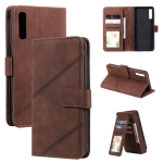 For Samsung Galaxy A50 Skin Feel Business Horizontal Flip PU Leather Case with Holder & Multi-Card Slots & Wallet & Lanyard & Photo Frame(Brown)