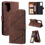 For Samsung Galaxy A72 5G / 4G Skin Feel Business Horizontal Flip PU Leather Case with Holder & Multi-Card Slots & Wallet & Lanyard & Photo Frame(Brown)
