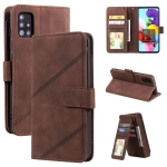 For Samsung Galaxy A51 Skin Feel Business Horizontal Flip PU Leather Case with Holder & Multi-Card Slots & Wallet & Lanyard & Photo Frame(Brown)