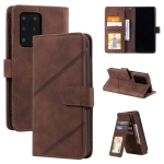 For Samsung Galaxy S20 Ultra Skin Feel Business Horizontal Flip PU Leather Case with Holder & Multi-Card Slots & Wallet & Lanyard & Photo Frame(Brown)