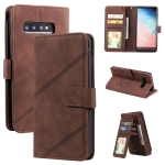 For Samsung Galaxy S10+ Skin Feel Business Horizontal Flip PU Leather Case with Holder & Multi-Card Slots & Wallet & Lanyard & Photo Frame(Brown)
