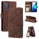 For Samsung Galaxy S20 FE Skin Feel Business Horizontal Flip PU Leather Case with Holder & Multi-Card Slots & Wallet & Lanyard & Photo Frame(Brown)