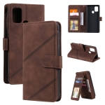 For Samsung Galaxy A21s Skin Feel Business Horizontal Flip PU Leather Case with Holder & Multi-Card Slots & Wallet & Lanyard & Photo Frame(Brown)