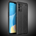 For OPPO A16 Litchi Texture TPU Shockproof Case(Black)