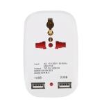 NK-823 2000W Dual USB Travel Charger Power Adapter Socket, UK Plug