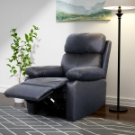 [US Warehouse] Adjustable Upholstered Recliner with Retractable Footrest, Size: 39 x 38 x 37 inch(Blue)