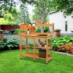 [US Warehouse] Rectangular Wooden Garden Workbench with Drawer & Sink, Size: 47.2 x 39.4 x 18 inch