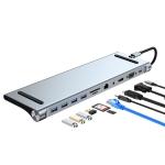 11 in 1 USB-C / Type-C to 4K HDMI + VGA + SD / TF Card Slot + Gigabit Ethernet + 3.5mm AUX + USB-C / Type-C + 4 USB 3.0 Multifunctional Docking Station HUB