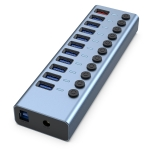 11 in 1 USB 3.0 HUB Splitter with Independent Switch & 12V 4A Power Supply