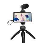 PULUZ Live Broadcast Smartphone Video Vlogger Kits Microphone + Tripod Mount + Phone Clamp Holder (Black)
