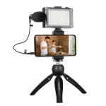 PULUZ Live Broadcast Smartphone Video Light Vlogger Kits with Microphone + LED Light + Tripod Mount + Phone Clamp Holder (Black)