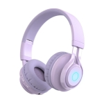 BT06C Cute Wireless Bluetooth 5.0 Headset for Children with Microphone LED Light Suppport Aux-in(Purple)