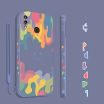 For Xiaomi Redmi Note 7 / Note 7 Pro Cube Painted Smiley Straight Side Liquid Silicone Shockproof Case with Hand Strap(Grey)