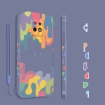 For Xiaomi Redmi 10X 5G Cube Painted Smiley Straight Side Liquid Silicone Shockproof Case with Hand Strap(Grey)