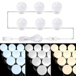 3 Color Temperature Mirror Front Lamp USB Simple Bathroom Makeup Light Bulbs, Power source: 6 LEDs