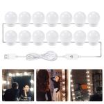 LED Mirror Front Lamp USB Adjustable Brightness Makeup Fill Light Bulbs, Power source: 14 LEDs