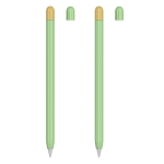 2 Sets 5 In 1 Stylus Silicone Protective Cover + Two-Color Pen Cap + 2 Nib Cases Set For Apple Pencil 1 (Matcha Green)
