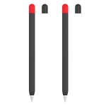 2 Sets 5 In 1 Stylus Silicone Protective Cover + Two-Color Pen Cap + 2 Nib Cases Set For Apple Pencil 2 (Black)